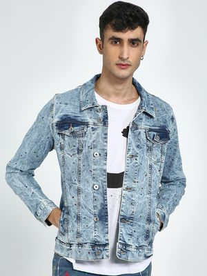 Blue Saint Acid Wash Paint Splatter Denim Jacket