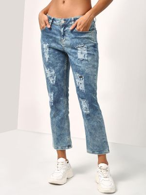 Blue Saint Acid Wash Distressed Boyfriend Jeans