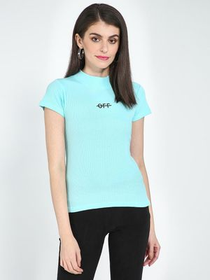 Blue Saint Ribbed Turtleneck Text Print T-shirt