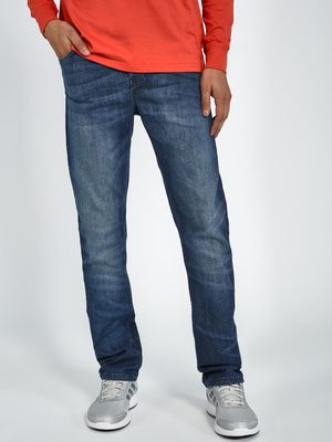 Blue Saint Mid Wash Distressed Slim Jeans