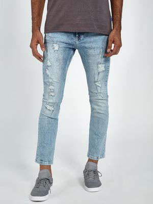 Blue Saint Acid Wash Distressed Cropped Slim Jeans