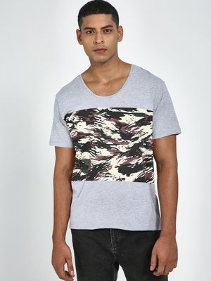 Blue Saint Camo Placement Print Round Neck T-Shirt