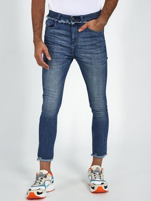 Blue Saint Mid-Wash Cropped Skinny Jeans
