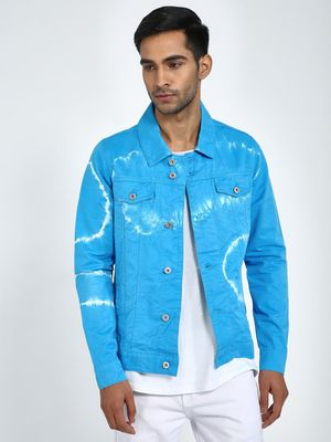 Blue Saint Tie-Dye Print Overdyed Denim Jacket