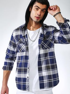 Blue Saint Checkered Hooded Casual Shirt