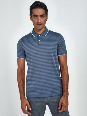 Blue Saint Horizontal Stripe Contrast Tipping Polo Shirt