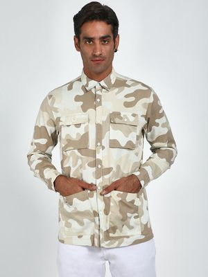 Blue Saint Camo Print Patch Pocket Shirt