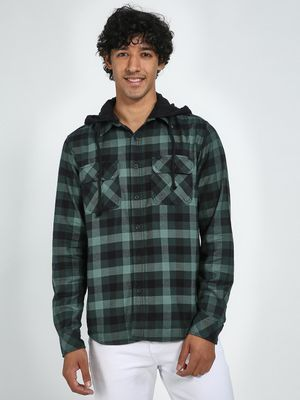 Blue Saint Check Shirt with Contrast Hood