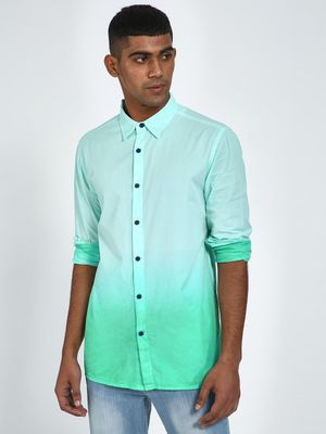 Blue Saint Two Toned Shirt With Contrast Buttons