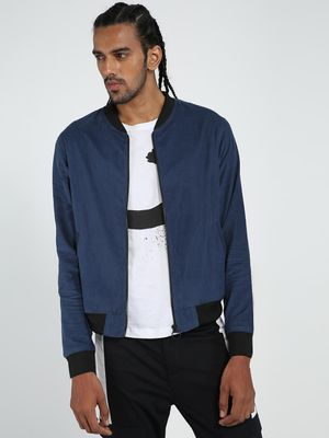 TRUE RUG Men Solid Blue Bomber Jacket