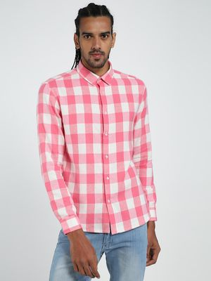 TRUE RUG White & Pink Checks Long Sleeve Shirt