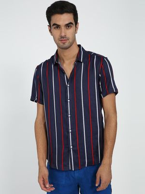 TRUE RUG Pinstripe Short Sleeve Shirt