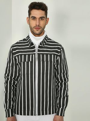 TRUE RUG All Over Stripe Print Zipper Jacket