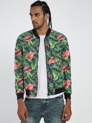 TRUE RUG Palm Leaf Print Bomber Jacket