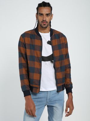TRUE RUG Red & Black Checks Bomber Jacket