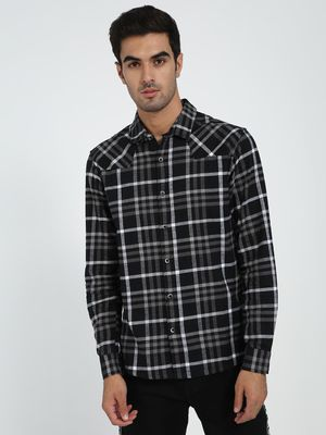 TRUE RUG Skull Print Check Shirt