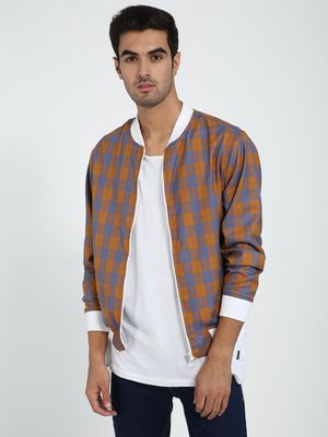TRUE RUG Baseball Collar Checks Bomber Jacket