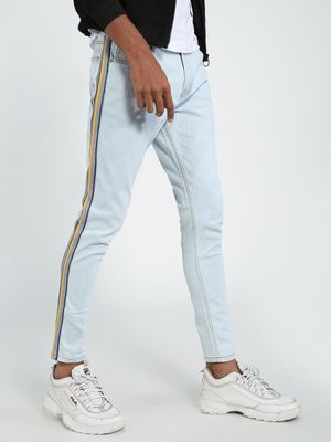 TRUE RUG Side Tape Light Wash Skinny Jeans
