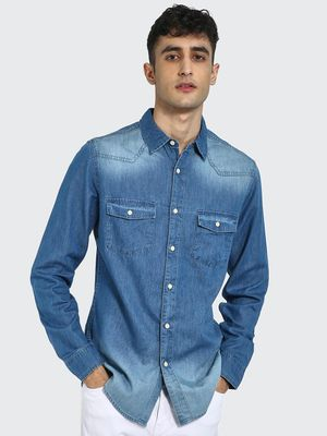 Blue Saint Twin Pocket Washed Denim Shirt