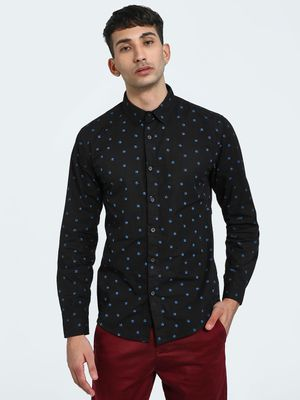 Blue Saint Skull Print Long Sleeve Shirt