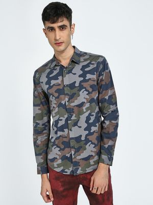 Blue Saint Camo Print Slim Shirt