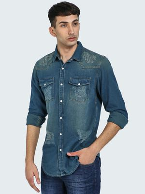 Blue Saint Mid-Wash Distressed Denim Shirt