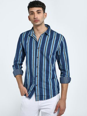Blue Saint Vertical Stripe Long Sleeve Shirt