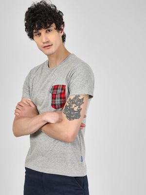 Blue Saint T-Shirt With Check Patch Pocket