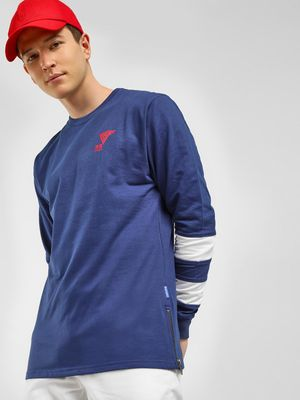 Blue Saint Striped Sleeve Sweatshirt