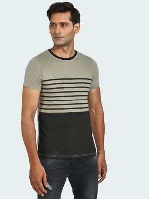 Blue Saint Horizontal Stripe Colour Block T-Shirt