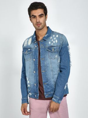 Blue Saint Mid Blue Washed Distressed Jacket
