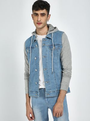 Blue Saint Color Block Denim Hooded Jacket