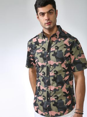 Blue Saint Camouflage Print Slim Fit Shirt