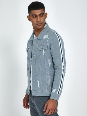 Blue Saint Light Wash Distress Denim Jacket