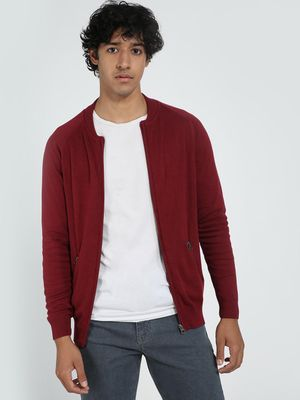 Blue Saint Men's Maroon Regular Fit Cardigan