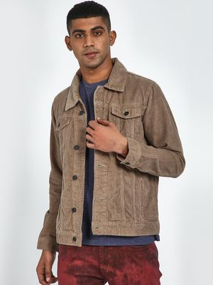 Blue Saint Taupe Full Sleeves Regular Fit Jacket