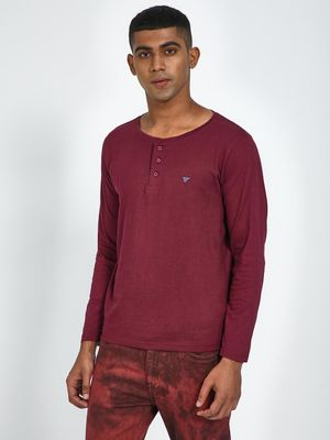 Blue Saint Maroon Button Detail Henley Neck T-Shirt
