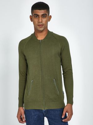 Blue Saint Olive Textured Zip Pocket Pullover