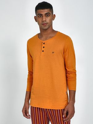 Blue Saint Men's Orange Regular Fit Tshirts