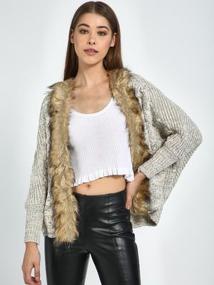 Blue Saint Front Open Fur Detail Jacket