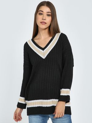 Blue Saint Contrast Stripe V-Neck Pullover