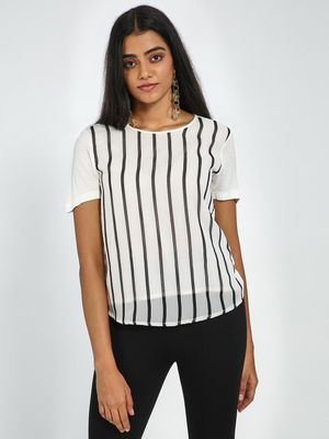 Blue Saint Black & White Striped Top