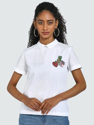 Blue Saint Fruit & Slogan Embroidered Patch Blouse
