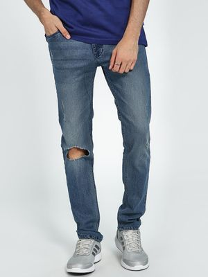 Blue Saint Light Wash Knee Ripped Slim Jeans