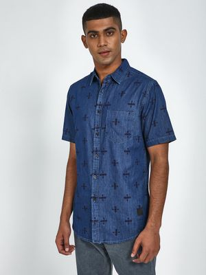Blue Saint All Over Print Short Sleeve Shirt