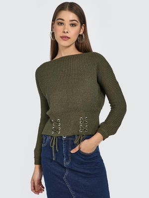 Blue Saint Lace Up Front Trim Pullover