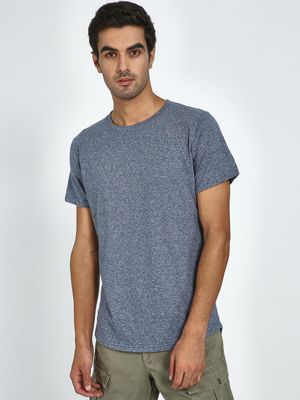 Blue Saint Textured Crew Neck T Shirt