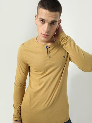 Blue Saint Longline Henley Neck T-shirt