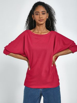 Blue Saint Red Boat Neck Bishop Sleeves Pullover