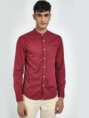 Blue Saint Mandarin Collar Long Sleeve Shirt